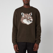 Maison Kitsuné Men's Fox Head Pullover Jumper - Light Khaki
