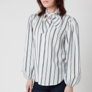 See by Chloe Women's Tie Neck Striped Shirt - White Blue