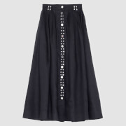 Ganni Women's Light Linen Midi Skirt - Phanthom