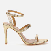 Kurt Geiger London Women's Portia Leather Heeled Sandals - Gold Comb
