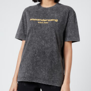 Alexander Wang Women's Acid Washed T-Shirt with Embroidery - Acid Black