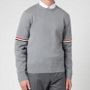 Thom Browne Men's Tricolour Stripe Crewneck Jumper - Light Grey