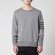 Thom Browne Men's Tonal Four-Bar Stripe Relaxed Fit Crewneck Sweatshirt - Medium Grey