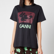 Ganni Women's Floral Cotton Jersey T-Shirt - Phantom