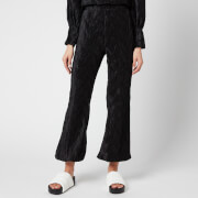 Ganni Women's Pleated Satin Trousers - Black