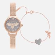 Olivia Burton Women's Lucky Bee Mini You Have My Heart Watch/Bracelet Giftset - Rose Gold