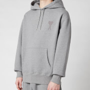 AMI Men's De Coeur Tonal Hooded Sweatshirt - Heather Grey