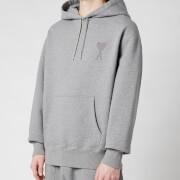 AMI Men's De Coeur Tonal Hooded Sweatshirt - Heather Grey