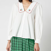RIXO Women's Lila Embroidered Collar Cotton Blouse - Ivory Cotton