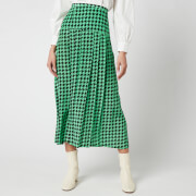 RIXO Women's Nancy Pleated Silk Skirt - Green/Black Dogtooth