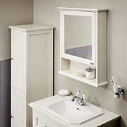 Savoy Old English Mirror Wall Cabinet - White