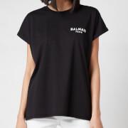 Balmain Women's Flocked Logo Detail T-Shirt - Noir/Blanc