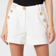 Balmain Women's Low Rise Cotton Pique Shorts - Blanc