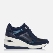 Dune Women's Eilas Running Style Trainers - Navy/Leather