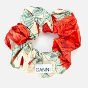 Ganni Women's Rose Print Silk Scrunchie - Brazilian Sand
