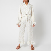 Sleeper Women's Rumba Linen Lounge Suit Daisies - White & Yellow
