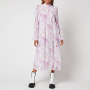 Ganni Women's Pleated Georgette Dress - Orchid Bloom