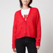 Ganni Women's Soft Wool Knitted Cardigan - Flame Scarlet