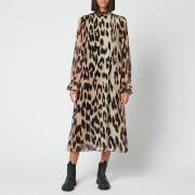 Ganni Women's Pleated Georgette Midi Dress - Maxi Leopard