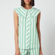 Ganni Women's Sleeveless Stripe Cotton Shirt - Kelly Green