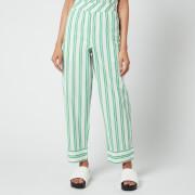 Ganni Women's Stripe Cotton Pants - Kelly Green