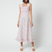 Ganni Women's Seersucker Check Dress - Orchid Bloom