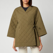 Ganni Women's Stretch Canvas Padded Coat - Khaki
