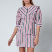 Ganni Women's Seersucker Mini Dress - Pink Nectar