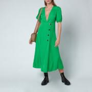 Ganni Women's Ripstop Viscose Dress - Kelly Green