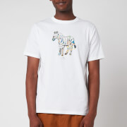 PS Paul Smith Men's Regular Fit Multi Colour Zebra T-Shirt - White