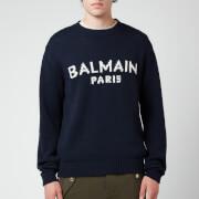 Balmain Men's Merino Knit Jumper - Navy/White