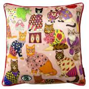 Karen Mabon Fashion Cats Cushion - Pink - 45x45cm