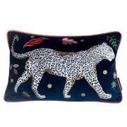 Karen Mabon Leopard Embroidered Cushion Right - 38x45cm