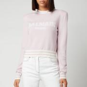 Balmain Women's Cropped Mesh Logo Sweatshirt - Rose Pale/Blanc