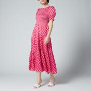 Kitri Women's Persephone Pink Checker Dress - Pink Wavy Checker
