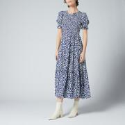 Kitri Women's Persephone Shirred Navy Animal Spot Dress - Navy Animal Spot