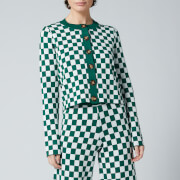 Kitri Women's Talulla Checker Knitted Cardigan - Green Checker