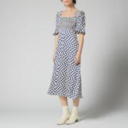 Kitri Women's Arabella Navy Checker Shirred Dress - Navy Wavy Checker