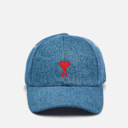 AMI Women's Cap With Adc Embroidery - Mid-Washed Denim Used Blue