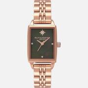 Olivia Burton Women's Celestial Watch - Black & Rose Gold
