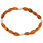 Silver Plated Amber Beaded Bracelet