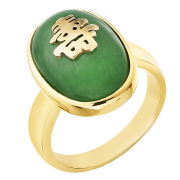 Gold Plated Green Jade Chinese Ring
