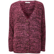 Moku Women's Chunky Mix Knit Cardigan - Pink/Black