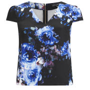 Girls On Film Women's Floral V Neck Top - Blue