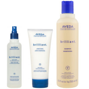 Aveda Brilliant Trio- Shampoo, Conditioner & Hair Spray -shampoo, hoitoaine ja hiuslakka