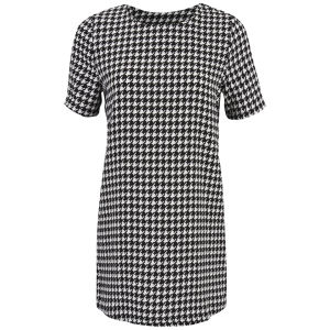 Glamorous Women's Dogtooth Print Shift Dress - Black/White