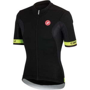 Castelli Volata Full Zip Jersey - Black/Yellow Fluo