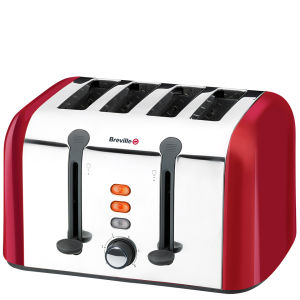 Breville Stainless Steel 4 Slice Toaster - Red