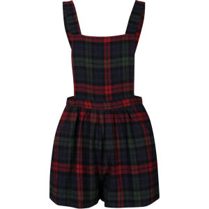 Glamorous Women's Tartan Pinafore Playsuit - Black