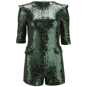 Lavish Alice Women's Green Sequin Structured Playsuit - Green